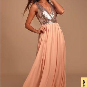 Lulu's Rose Gold Sequin Dress